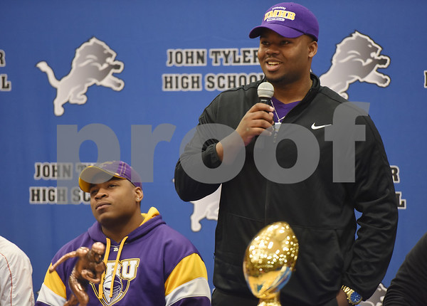 Howard Hawkins announces his intent to attend the University of Mary-Hardin Baylor during the athletic signing ceremony held at John Tyler High School Wednesday Feb. 1, 2017.   (Sarah A. Miller/Tyler Morning Telegraph)
