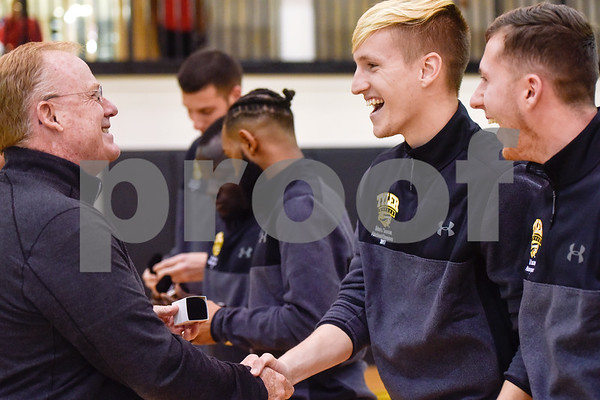 Tyler Junior College soccer players are awarded with their National Championship rings during a college basketball game at Tyler Junior College in Tyler, Texas, on Wednesday, Feb. 14, 2018. (Chelsea Purgahn/Tyler Morning Telegraph)