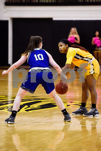 Tyler Junior College Djhai Patterson-Ricks (1) looks to pass the ball as Kilgore Community College freshman Alex Strawhorn (10) guards her during a college basketball game at Tyler Junior College in Tyler, Texas, on Wednesday, Feb. 14, 2018. The Kilgore Lady Rangers beat the Tyler Lady Apaches 78-72. (Chelsea Purgahn/Tyler Morning Telegraph)