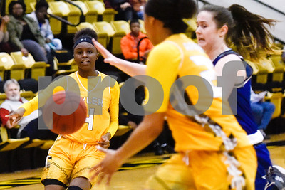 Tyler Junior College freshman Trelynn Tyler (4) passes the ball to a teammate during a college basketball game at Tyler Junior College in Tyler, Texas, on Wednesday, Feb. 14, 2018. The Kilgore Lady Rangers beat the Tyler Lady Apaches 78-72. (Chelsea Purgahn/Tyler Morning Telegraph)