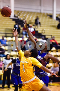 Tyler Junior College sophomore Djhai Patterson-Ricks (1) as Kilgore Community College freshman Patience Idoko (31) guards her during a college basketball game at Tyler Junior College in Tyler, Texas, on Wednesday, Feb. 14, 2018. The Kilgore Lady Rangers beat the Tyler Lady Apaches 78-72. (Chelsea Purgahn/Tyler Morning Telegraph)