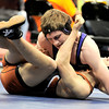 Mead's Kyle McNellis (bottom) is pinned by Salida's Brandon Coleman (top) during the first round of the 2012 State Wrestling Tournament in Denver, Colorado February 17, 2012. CAMERA/MARK LEFFINGWELL