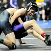 Holy Family's Vincent Casados (right) wrestles Vally's Ruben Lucero (right) during the first round of the 2012 State Wrestling Tournament in Denver, Colorado February 17, 2012. CAMERA/MARK LEFFINGWELL