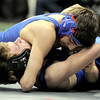 Lyons' Cameron Grossnickle (left) is pinned by Custard County's Cameron Ham during the first round of the 2012 State Wrestling Tournament in Denver, Colorado February 17, 2012. CAMERA/MARK LEFFINGWELL