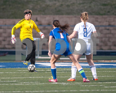 Grace Community School's goalie Rylan Wright looks for an open teammate to pass the ball to during their TAPPS Division II girls winter soccer playoff game against Covenant Christian at Grace Tuesday Feb. 12, 2016.  (Sarah A. Miller/Tyler Morning Telegraph)
