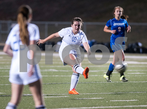 Grace Community School's Brittani Smith takes a goal-making kick in the first half of their TAPPS Division II girls winter soccer playoff game against Covenant Christian at Grace Tuesday Feb. 12, 2016.  (Sarah A. Miller/Tyler Morning Telegraph)