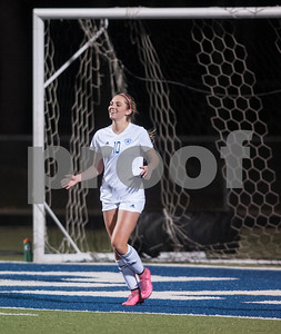 Grace Community School's Lexye Price smiles after scoring a goal during their TAPPS Division II girls winter soccer playoff game against Covenant Christian at Grace Tuesday Feb. 12, 2016.  (Sarah A. Miller/Tyler Morning Telegraph)