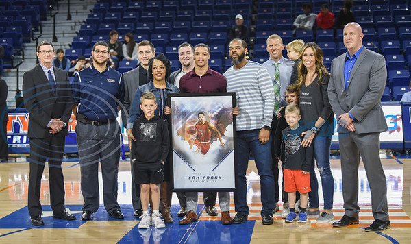 Senior Cam Frank (0) was honored on Senior Day before a game against Louisiana College at Louise Herrington Patriot Center. Frank, who was injured and did not play in the game, was the sole male senior honored on Saturday, February 16. (Jessica T. Payne/Tyler Morning Telegraph)