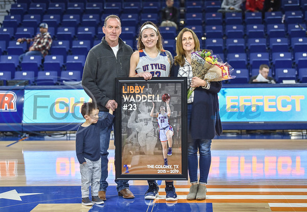 Libby Waddell (23) was all smiles for a photo with family on Senior Day. Seniors were honored between the women's and men's basketball game, both against Louisiana College, at the Louise Herrington Patriot Center on Saturday, February 16.  (Jessica T. Payne/Tyler Morning Telegraph)