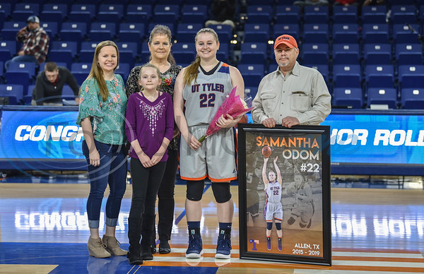 Senior Samantha Odom (22) was honored during Senior Day after a game against Louisiana College at Louise Herrington Patriot Center. Five senior women and one senior man were honored between games on Saturday, February 16.