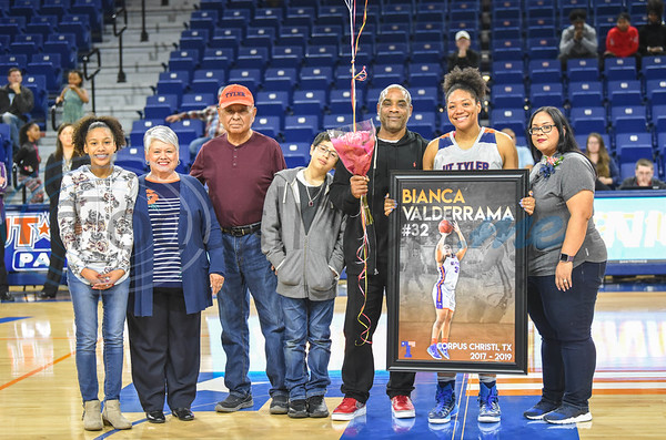 Senior Bianca Valderrama (32) was honored during Senior Day after a game against Louisiana College at Louise Herrington Patriot Center. Five senior women and one senior man were honored between games on Saturday, February 16. (Jessica T. Payne/Tyler Morning Telegraph)