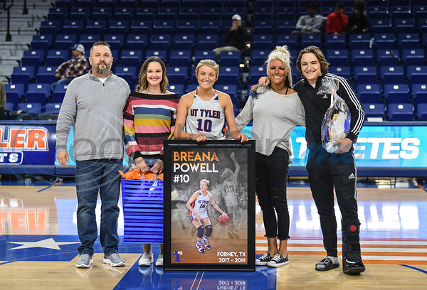 Breana Powell (10) smiles for a photo with family on Senior Day. Seniors were honored between the women's and men's basketball game, both against Louisiana College, at the Louise Herrington Patriot Center on Saturday, February 16.  (Jessica T. Payne/Tyler Morning Telegraph)