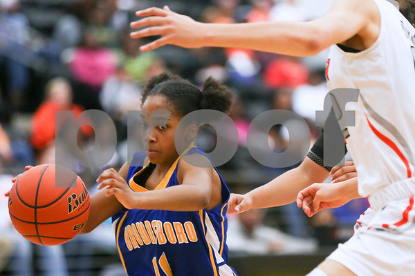 Brownsboro junior Aleiah Williams (11) dribbles the ball down the court during a girls basketball 4A area championship game at Winona High School in Winona, Texas, on Friday, Feb. 17, 2017. (Chelsea Purgahn/Tyler Morning Telegraph)
