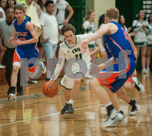 Bishop Thomas K. Gorman's (11) Nic Vandiver dribbles the ball as they play Colleyville Convenant Friday Feb. 19, 2016 at home. Gorman lost, 35-61.   (Sarah A. Miller/Tyler Morning Telegraph)