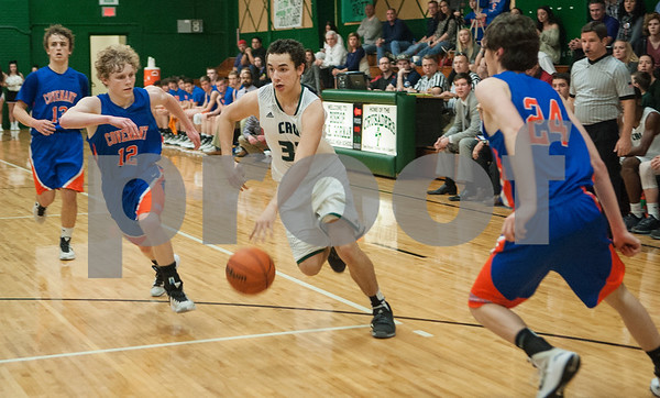Bishop Thomas K. Gorman's Jake Smith dribbles the ball as they play Colleyville Convenant Friday Feb. 19, 2016 at home. Gorman lost, 35-61.   (Sarah A. Miller/Tyler Morning Telegraph)