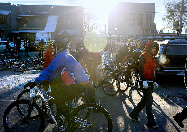 Record-Eagle/Keith King<br /> Riders prepare in Kalkaska Saturday, November 6, 2010 for the start of the 21st annual Iceman Cometh Challenge bicycle race.