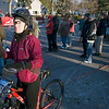 Record-Eagle/Keith King<br /> Nicole Derrick, of Southfield, finishes adjusting her helmet Saturday, November 6, 2010 prior to the start of the 21st annual Iceman Cometh Challenge bicycle race in Kalkaska. The race finished at Timber Ridge Resort in Traverse City.