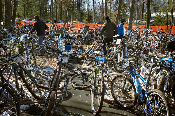 Record-Eagle/Keith King<br /> Bikes are parked at Timber Ridge Resort Saturday, November 6, 2010 after the 21st annual Iceman Cometh Challenge bicycle race.