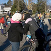 Record-Eagle/Keith King<br /> Sarah Forrer, of Akron, OH, shares a kiss with her husband, Brent Forrer, Saturday, November 6, 2010 in Kalkaska prior to his start in the 21st annual Iceman Cometh Challenge bicycle race.