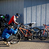 Record-Eagle/Keith King<br /> Riders put their numbers on their bikes as they prepare in Kalkaska Saturday, November 6, 2010 for the start of the 21st annual Iceman Cometh Challenge bicycle race.