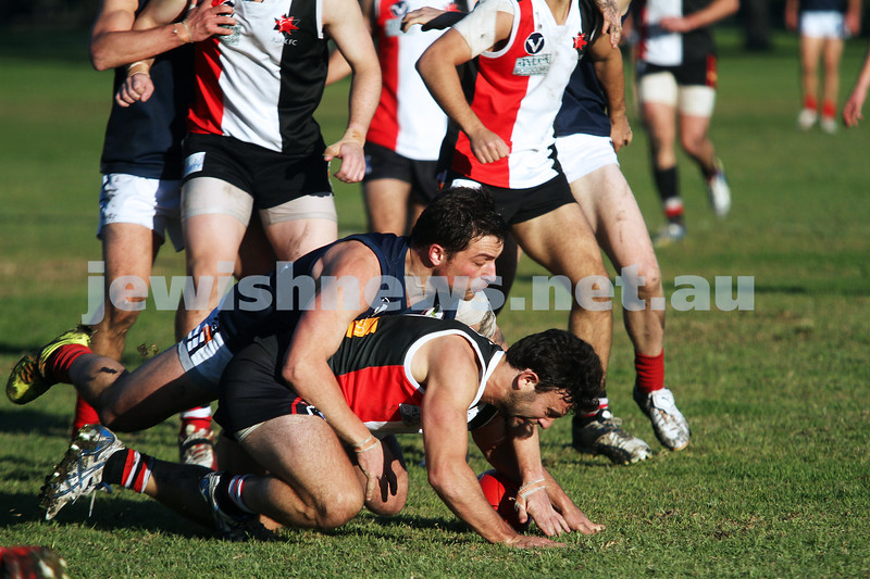 22-6-13. AJAX v Old Melburnians. Gary Smorgon Oval.  Photo: Peter Haskin