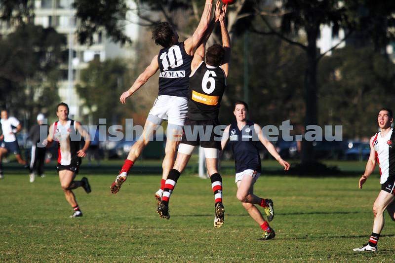 22-6-13. AJAX v Old Melburnians. Gary Smorgon Oval.  Photo: Peter Haskin