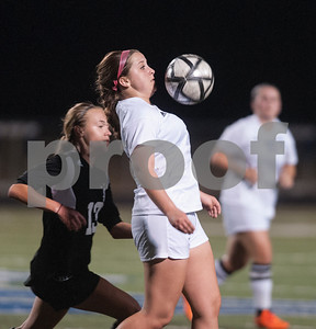 Grace Community School's Tori Intlehouse stops the ball with her chest during their TAPPS D-II soccer regional final  against All Saints Feb. 20, 2016 at Clyde-Perkins Stadium. Grace won, 1-0.  (Sarah A. Miller/Tyler Morning Telegraph)