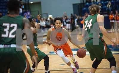 University of Texas at Tyler's Darryn York dribbles the ball downcourt as they play University of Texas at Dallas at the Herrington Patriot Center Saturday Feb. 20, 2016.   (Sarah A. Miller/Tyler Morning Telegraph)