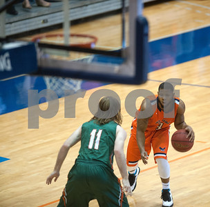 University of Texas at Tyler's Dyonne Luke looks to get past University of Texas at Dallas' Noah Hill at the Herrington Patriot Center Saturday Feb. 20, 2016.   (Sarah A. Miller/Tyler Morning Telegraph)