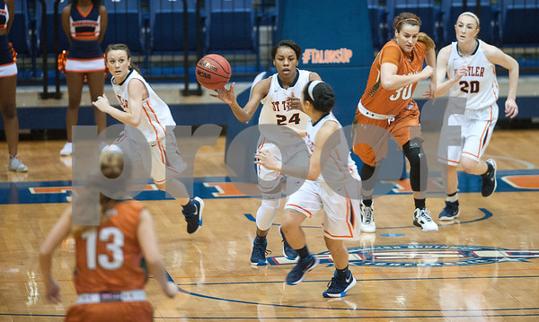 University of Texas at Tyler's D'Onna Matthews passes the ball to teammate Michelle Obach as they play University of Texas at Dallas at the Herrington Patriot Center Saturday Feb. 20, 2016. No. 5 UT-Tyler defeated UT-Dallas 88-69 making their record 15-0 in ASC East Division.  (Sarah A. Miller/Tyler Morning Telegraph)