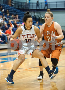 University of Texas at Tyler's Michelle Obach dribbles past  University of Texas at Dallas' Shannon Mathis at the Herrington Patriot Center Saturday Feb. 20, 2016. No. 5 UT-Tyler defeated UT-Dallas 88-69 making their record 15-0 in ASC East Division.  (Sarah A. Miller/Tyler Morning Telegraph)