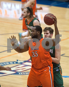 University of Texas at Tyler's Deon Rodgers takes control of the ball as they play University of Texas at Dallas at the Herrington Patriot Center Saturday Feb. 20, 2016.   (Sarah A. Miller/Tyler Morning Telegraph)