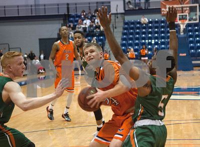 University of Texas at Tyler's Latigo Collins tries to shoot as they play University of Texas at Dallas at the Herrington Patriot Center Saturday Feb. 20, 2016.   (Sarah A. Miller/Tyler Morning Telegraph)