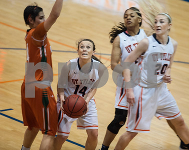 University of Texas at Tyler's Mackenzie May looks to shoot a basket in the first period  of their game against University of Texas at Dallas at the Herrington Patriot Center Saturday Feb. 20, 2016. No. 5 UT-Tyler defeated UT-Dallas 88-69 making their record 15-0 in ASC East Division.  (Sarah A. Miller/Tyler Morning Telegraph)