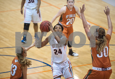 University of Texas at Tyler's D'Onna Matthews goes for a basket as they play University of Texas at Dallas at the Herrington Patriot Center Saturday Feb. 20, 2016. No. 5 UT-Tyler defeated UT-Dallas 88-69 making their record 15-0 in ASC East Division.  (Sarah A. Miller/Tyler Morning Telegraph)