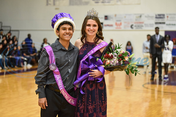 Angel Arredondo (left) and Makayla Wiggins (right) smile for a photo after being crown Homecoming King and Queen during halftime of the Jacksonville College Women's Basketball game against Trinity Valley on Saturday, February 2. (Jessica T. Payne/Tyler Morning Telegraph)