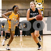 Panola College freshman Daria Eremeeva (2) dribbles the ball down the court during a Region XIV college basketball game at Tyler Junior College in Tyler, Texas, on Wednesday, Feb. 22, 2017. The Panel College Ponies beat the Tyler Junior College Apaches 75-70. (Chelsea Purgahn/Tyler Morning Telegraph)
