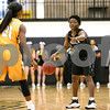 Panola College freshman Patience Okpe (5) looks to pass the ball during a Region XIV college basketball game at Tyler Junior College in Tyler, Texas, on Wednesday, Feb. 22, 2017. The Panel College Ponies beat the Tyler Junior College Apaches 75-70. (Chelsea Purgahn/Tyler Morning Telegraph)