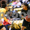 Panola College sophomore Amanda Cruz (24) looks to pass the ball during a Region XIV college basketball game at Tyler Junior College in Tyler, Texas, on Wednesday, Feb. 22, 2017. The Panel College Ponies beat the Tyler Junior College Apaches 75-70. (Chelsea Purgahn/Tyler Morning Telegraph)