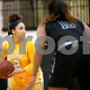 Tyler Junior College freshman De'Janie Graves (2) looks to pass the ball during a Region XIV college basketball game at Tyler Junior College in Tyler, Texas, on Wednesday, Feb. 22, 2017. The Panel College Ponies beat the Tyler Junior College Apaches 75-70. (Chelsea Purgahn/Tyler Morning Telegraph)