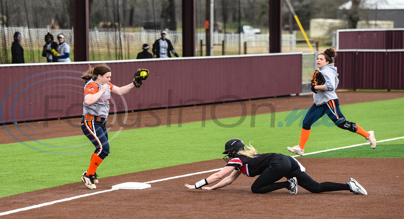 Alanna Goldsberry (6) of Rusk slides into second during a game against Brook Hill on Saturday, February 23. Several teams gathered at Whitehouse High School for the Tyler Tournament. (Jessica T. Payne/Tyler Morning Telegraph)