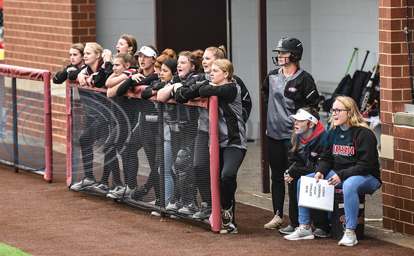 The Rusk softball team cheers on players during a game against Brook Hill at the Tyler Tournament. The tournament took place at Whitehouse High School on Saturday, February 23. (Jessica T. Payne/Tyler Morning Telegraph)