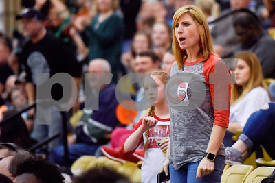 A Carthage fan reacts to a referee's call during a high school basketball regional quarterfinal playoff game at Tyler Junior College in Tyler, Texas, on Tuesday, Feb. 27, 2018. The Carthage Bulldogs beat the Canton Eagles 57-42. (Chelsea Purgahn/Tyler Morning Telegraph)