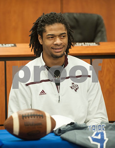 Frankston High School senior Kendrick Rodgers smiles after announcing his intent to play football at Texas A&M University Wendesday.  (Sarah A. Miller/Tyler Morning Telegraph)