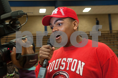 Braylon Jones talks to the media about his future playing football at the University of Houston. Thirteen John Tyler High School seniors signed letters of intent to play collegiate football Wednesday Feb. 3, 2016.  (Sarah A. Miller/Tyler Morning Telegraph)