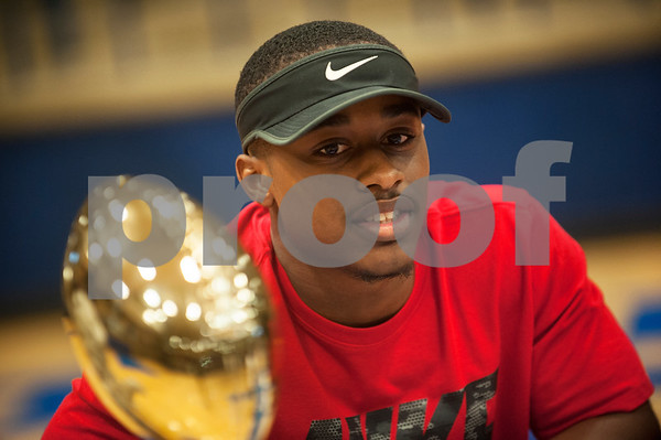 Dejuan Beal will play football at Bacone College. Thirteen John Tyler High School seniors signed letters of intent to play collegiate football Wednesday Feb. 3, 2016 as part of National Signing Day.  (Sarah A. Miller/Tyler Morning Telegraph)
