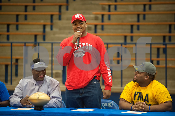 Braylon Jones announces his plans of attending the University of Houston. Thirteen John Tyler High School seniors signed letters of intent to play collegiate football Wednesday Feb. 3, 2016.  (Sarah A. Miller/Tyler Morning Telegraph)