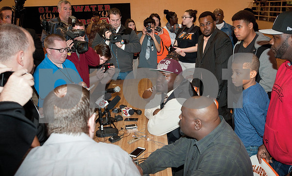 photo by Sarah A. Miller/Tyler Morning Telegraph  Gladewater High School's defensive lineman Daylon Mack  is interviewed by local, state and national media outlets after his National Signing Day announcement committing to Texas A&M Wednesday in Gladewater, Texas. ESPN ranks Mack as the No. 6 overall recruit in the nation.