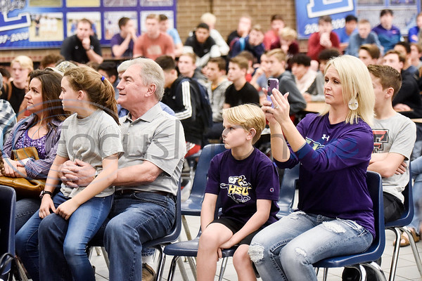 People sit and listen during a National Signing Day event at Lindale High School in Lindale, Texas, on Wednesday, Feb. 6, 2019. (Chelsea Purgahn/Tyler Morning Telegraph)