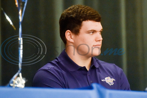 James Sandifer sits on stage during a National Signing Day event at Lindale High School in Lindale, Texas, on Wednesday, Feb. 6, 2019. (Chelsea Purgahn/Tyler Morning Telegraph)